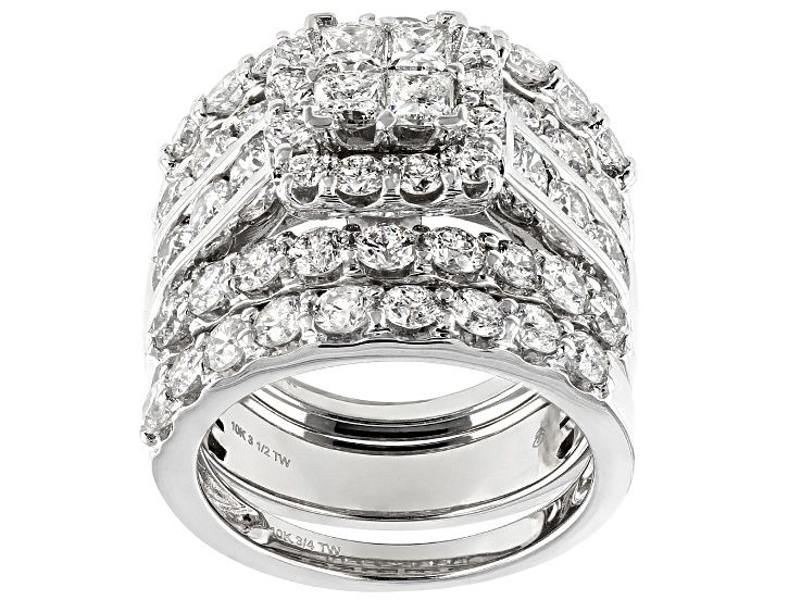 White Diamond 10k White Gold Ring With Bands 4 85ctw Docn757 White Gold Rings White Gold Gold Rings