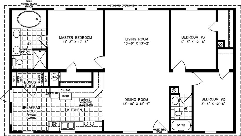 1200 square foot open floor plans the tnr 44812b manufactured home floor plan - 1200 Sq Ft House Plans Two Master Bedrooms