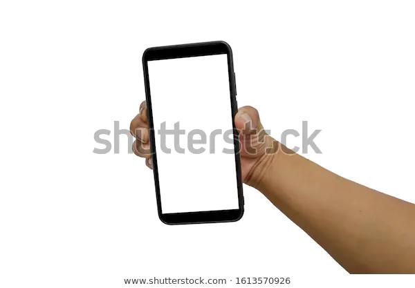Hand Holding Martphone Black Blank Screen Stock Photo Edit Now 1613570926 Photo Editing Stock Photos Holding Hands