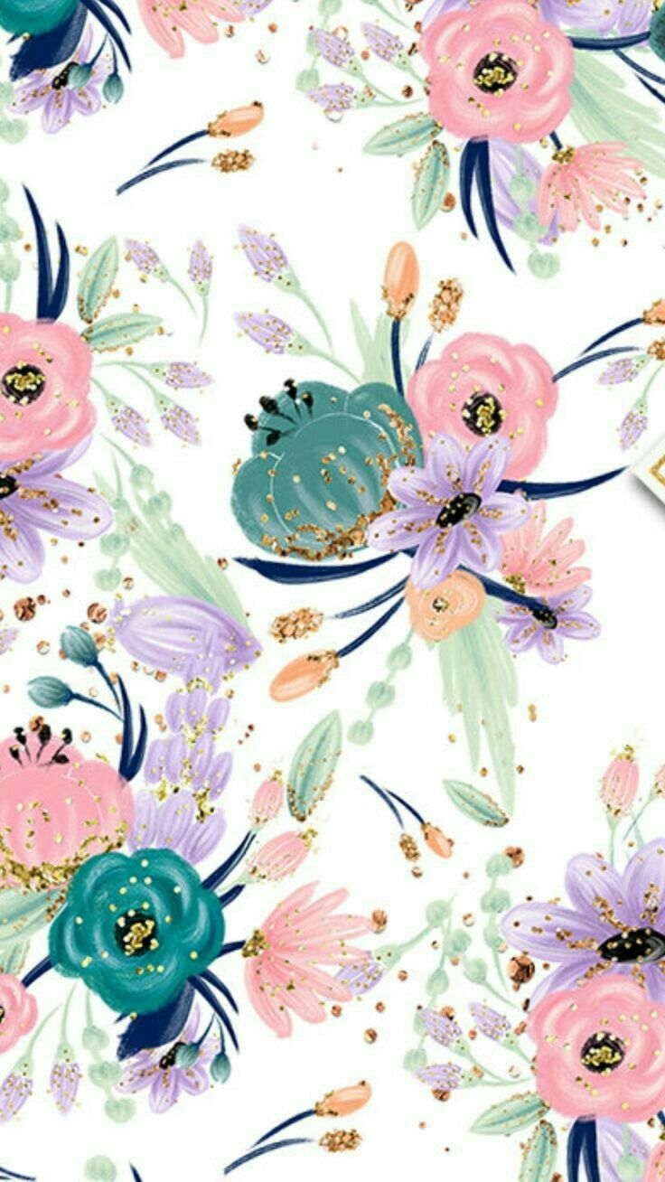 Spring flower pattern / spring pattern iPhone wallpaper