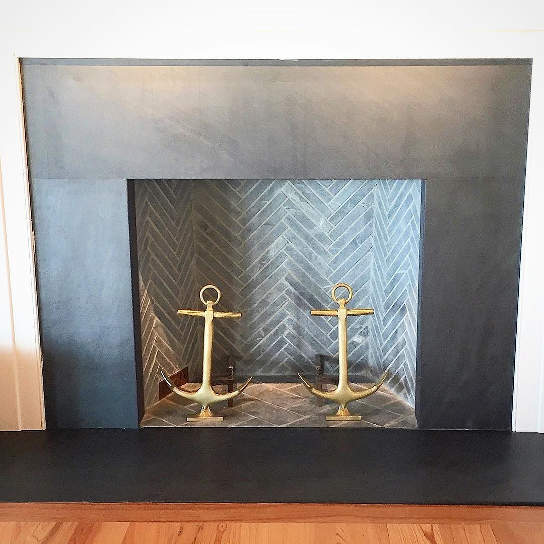 Loving This Grayson Slate Fireplace Surround With Soapstone Brick Liner In A Herringbone Defin Slate Fireplace Slate Fireplace Surround Herringbone Fireplace