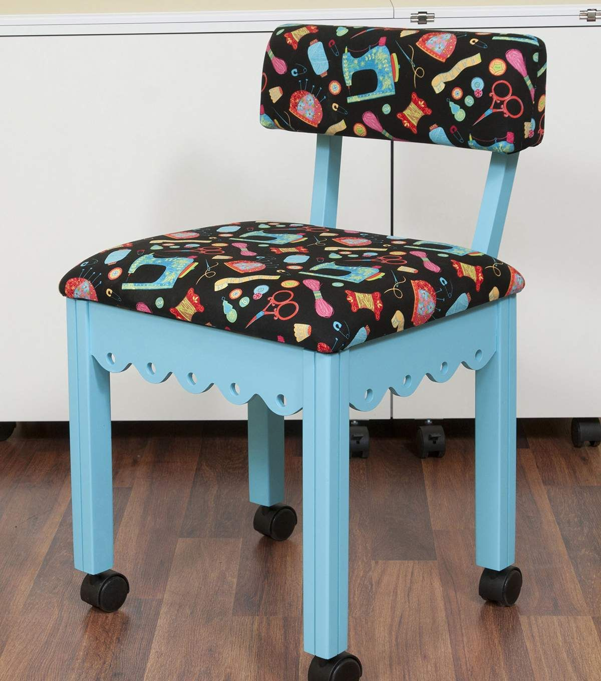 Arrow Blue Sewing Chair with Scalloped Base Sewing