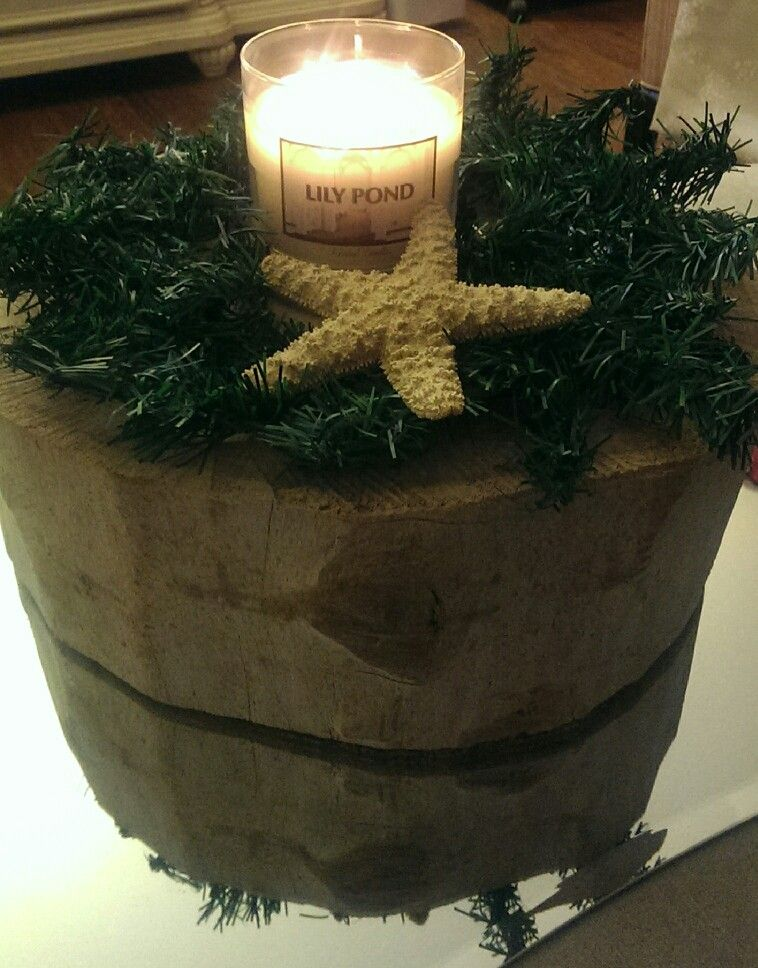 Raw log candle holder made by my hubby <3