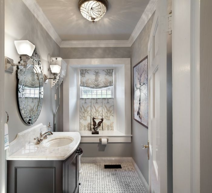 bodenbelag design badezimmer hellgraue wände wandleuchten - wellness badezimmer ideen