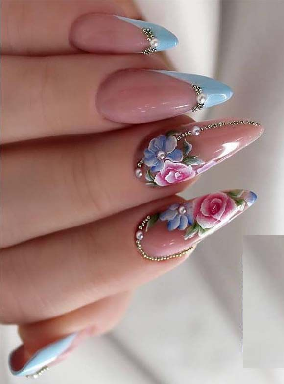 cutest baby-blue french nails