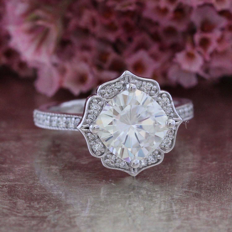 Vintage floral moissanite engagement ring in k white gold milgrain
