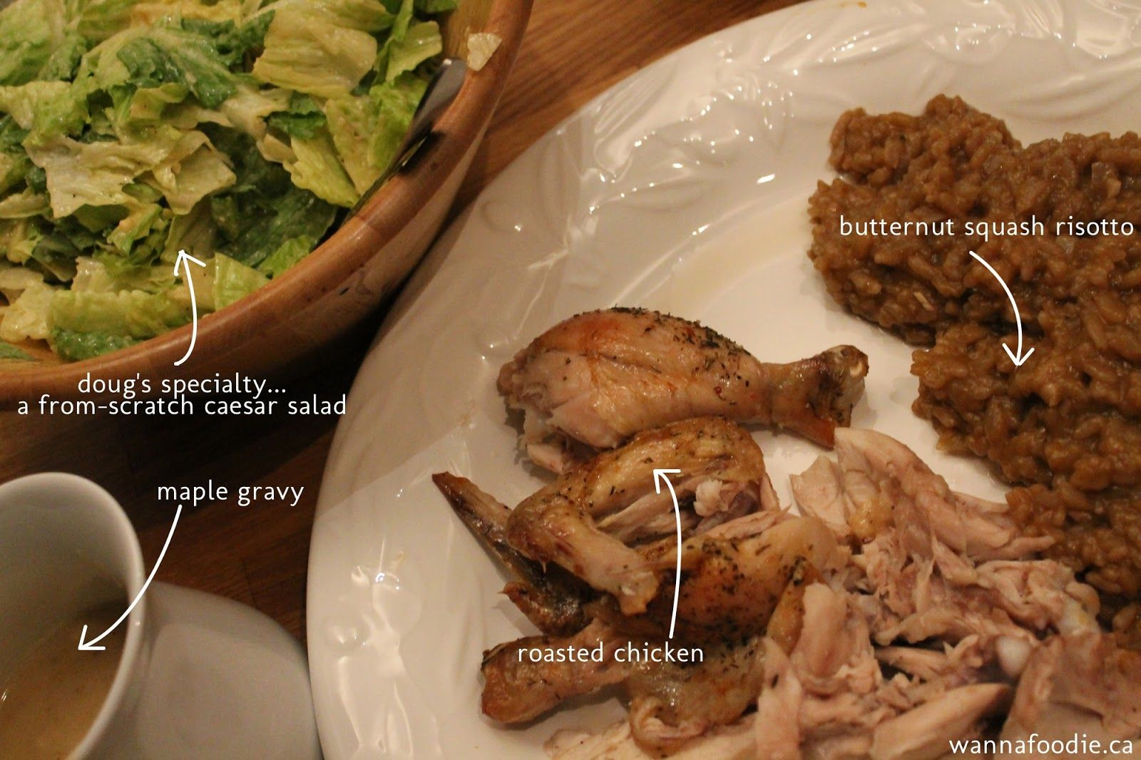 wannafoodie.ca: Roasted Chicken with Maple Butternut Squash Risotto