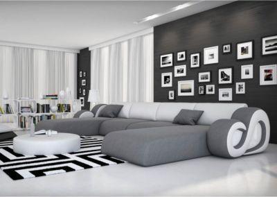Couch Constanza Grau Weiss 485x242 mit LED und Kissen Wohnlandschaft ...