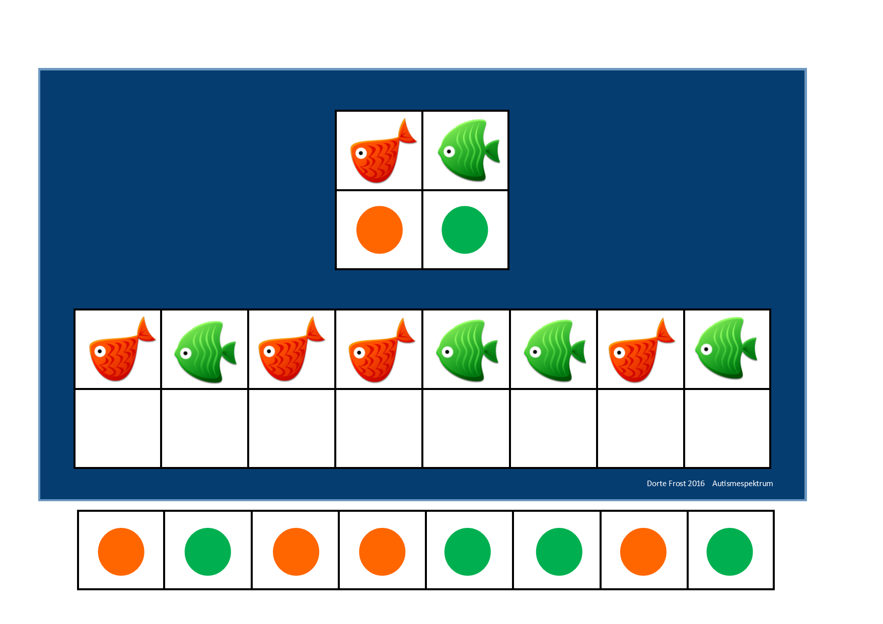 Board And Tiles For The 2 Fish Visual Perception Game By