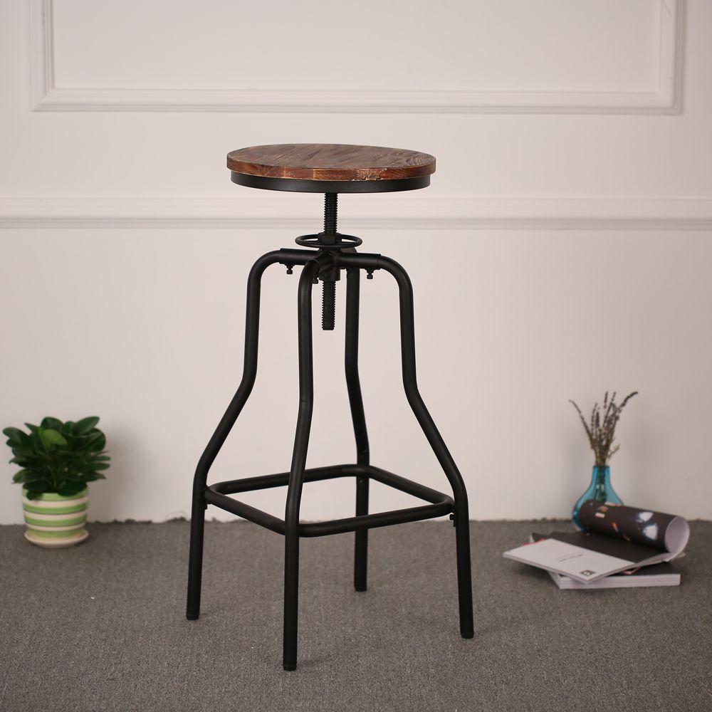 Wood Ikayaa Height Adjule Rustic Bar Stool Kitchen Dining Chair Lovdock