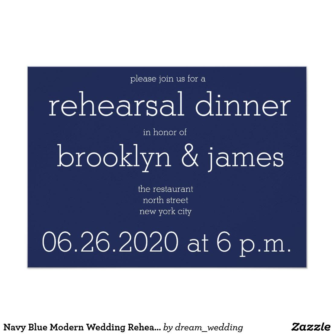 Wedding Officiant Speech Ideas: Navy Blue Modern Wedding Rehearsal Invitations