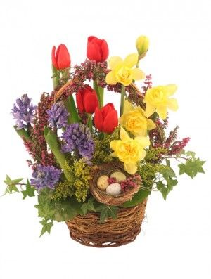 Easter Is Right Around The Corner Place Your Order For A Beautiful Easter Floral Basket O Basket Flower Arrangements Spring Flower Arrangements Easter Flowers