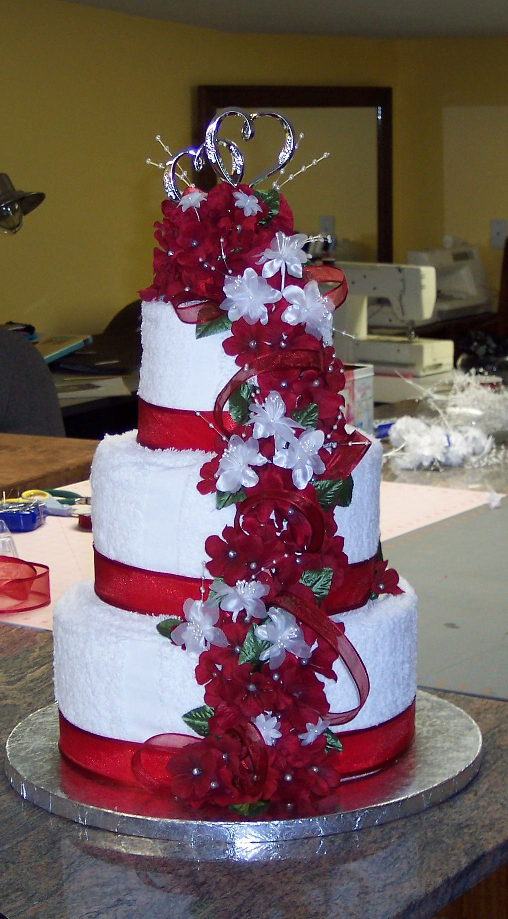 Towel cake for my niece's wedding shower. Towel cakes