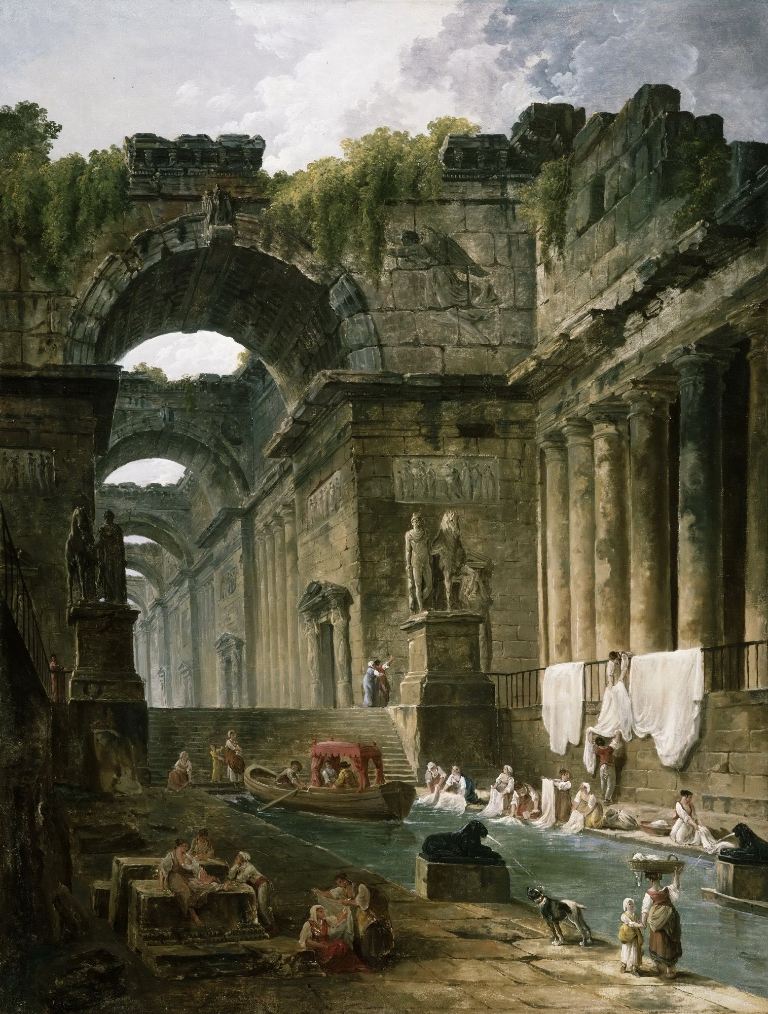 ANCIENT ROMAN BATH BATHS PAINTING ROME ITALY RUINS ART REAL CANVAS PRINT