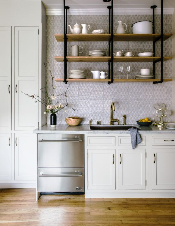 Beautiful Kitchen Design Idea. Open Wood Shelves, White Cabinets And Brass  Faucet