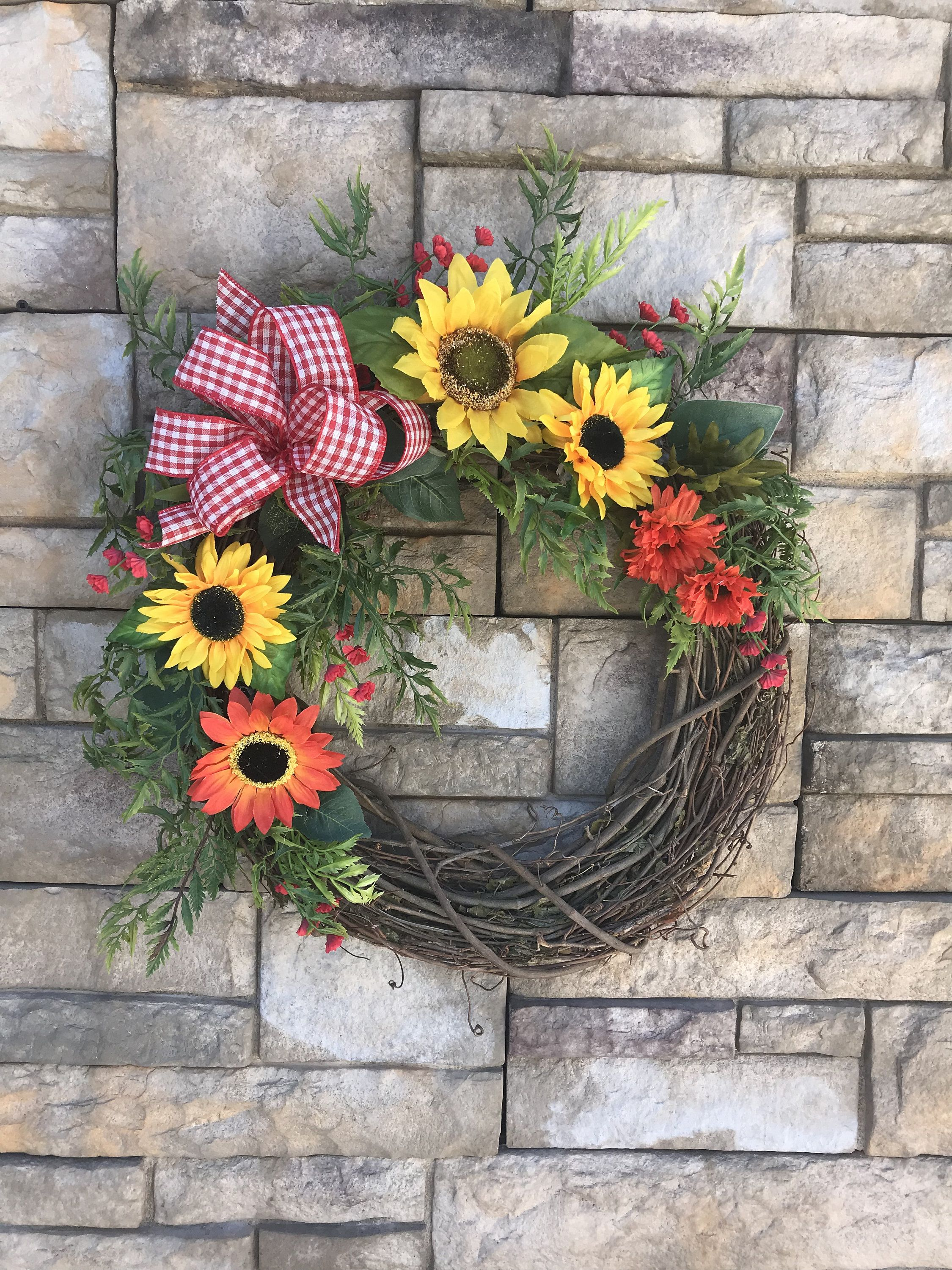 Photo of Silk Yellow and Red Sunflower Wreath-Red Gingham Bow-Sunflower Wreath for Front Door-Red Yellow Orange Floral Wreath-Bright Colored Wreath