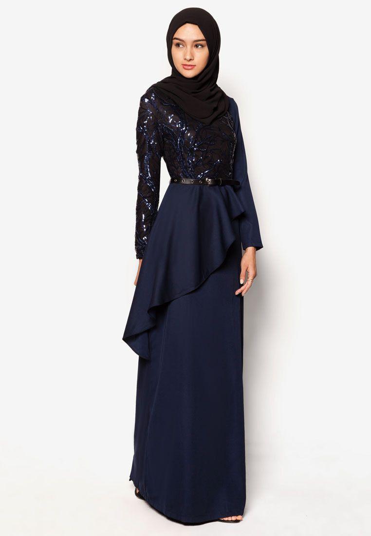 Buy zalia wrap cascade sequin maxi dress online zalora malaysia