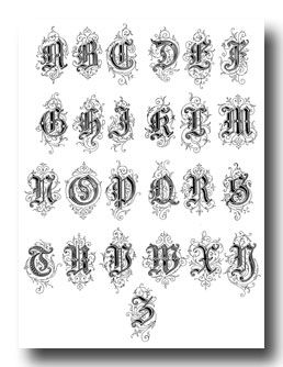 alphabet old english style