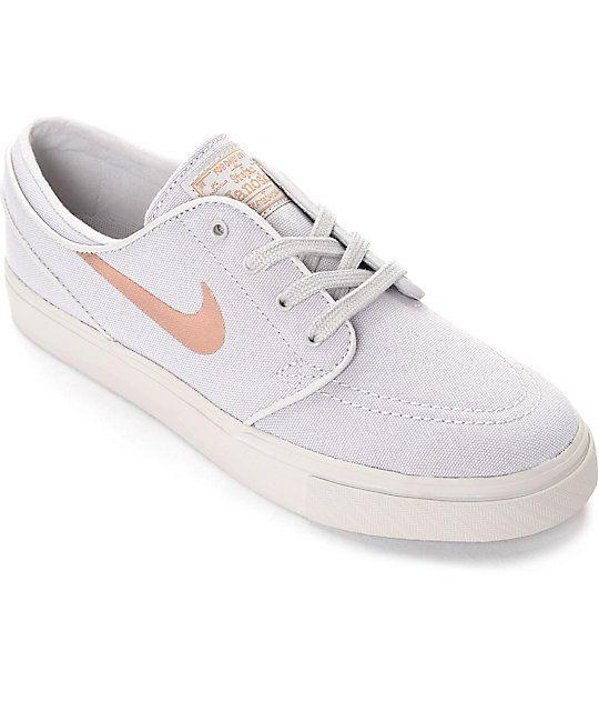 46be495545fa Nike SB Stefan Janoski Light Iron Ore   Bronze Canvas Womens Skate Shoes