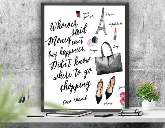Coco Chanel Quote Printable Art, Chanel Decor, Inspirational Print,  Chanel Poster, Girls Room  Decor ,Instant Download Art, Chanel Print