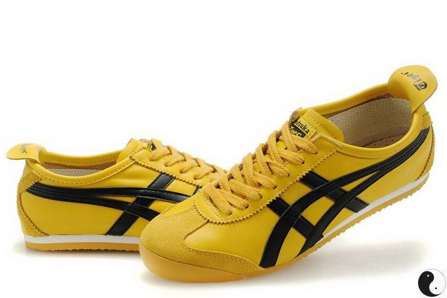 nitsuka Tiger Mexico 66 Yellow/Black -Yellow leather upper with trademark  Asics Onitsuka side stripes in black leather. Yellow heel tab, with  ''Tiger'' logo ...