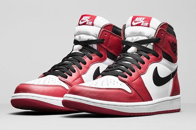 """Air Jordan 1 Retro High OG """"Chicago"""" White/Black-Varsity Red 555088"""