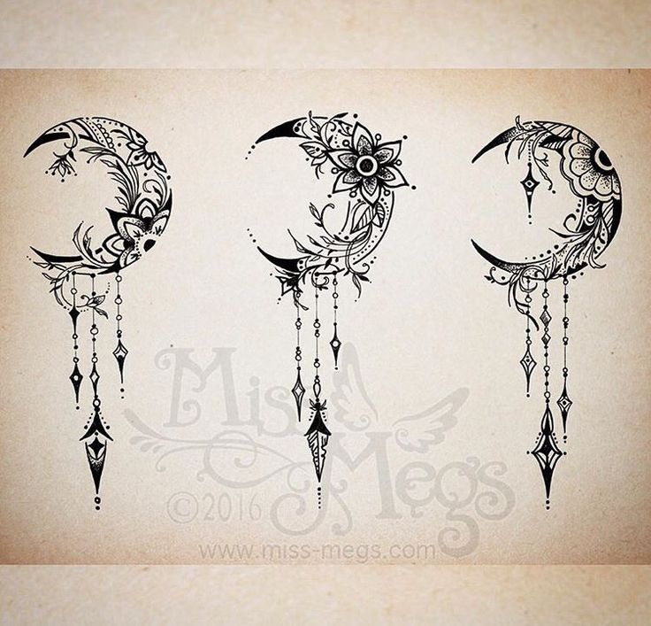 Floral Crescent Moon Moon Tattoo Designs Feather Tattoos Moon Tattoo