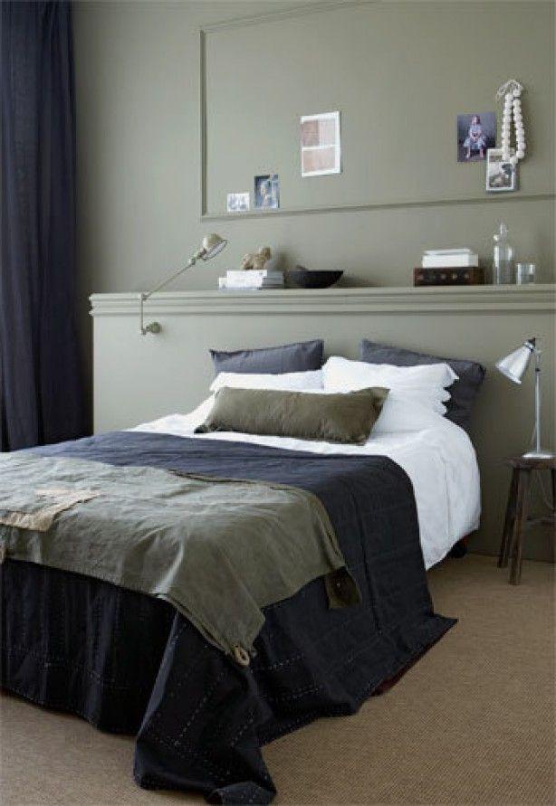 stoere slaapkamer  aardetinten  warme uitstraling