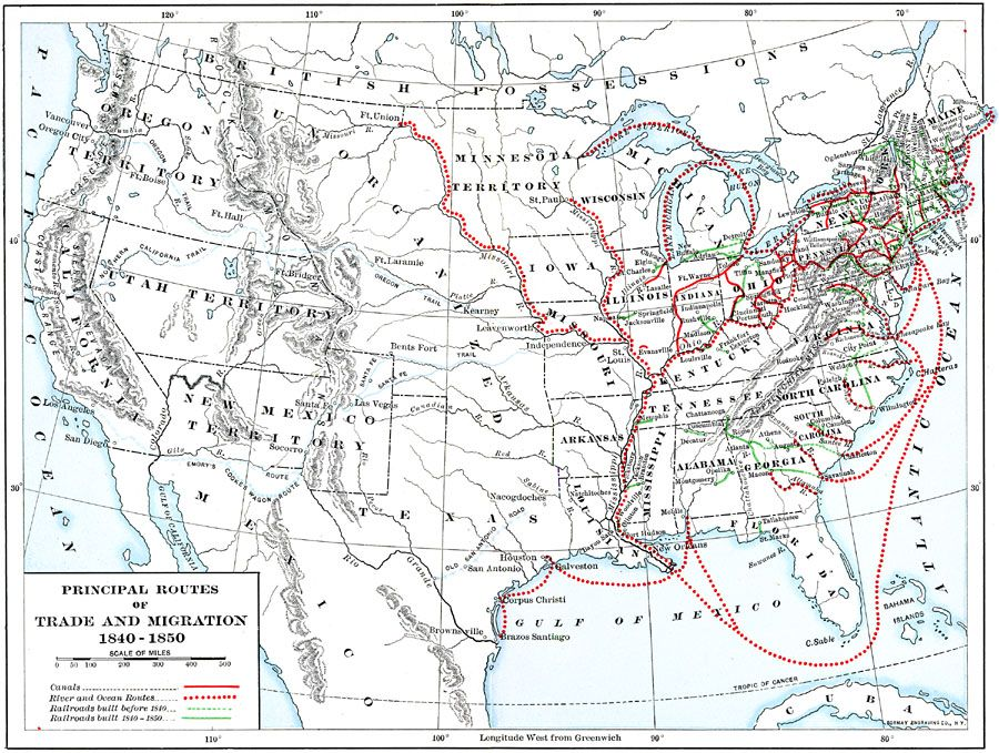 Trade And Migration In The US Antebellum - Map of the us in 1840