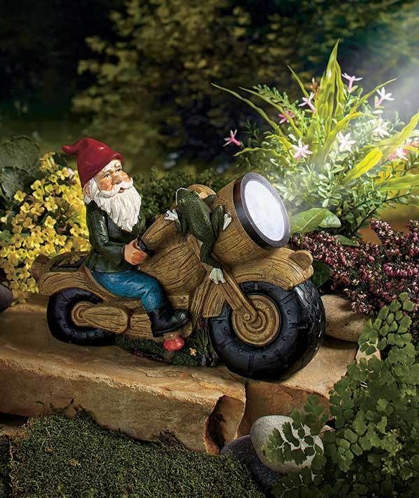 New Solar Ed Gnome Motorcycle Statue Biker Yard Garden Led Spotlight Decor