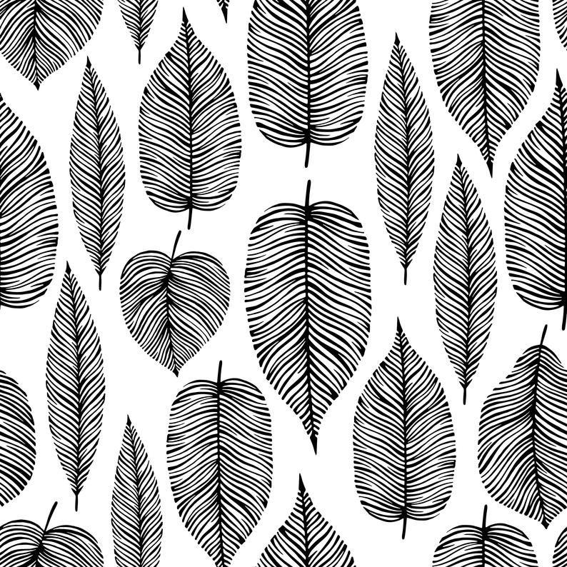 Wallpaper Black And White Leaves 194 Wallpaper Classic Etsy In 2021 Elegant Wall Art Black And White Leaves Leaf Wallpaper