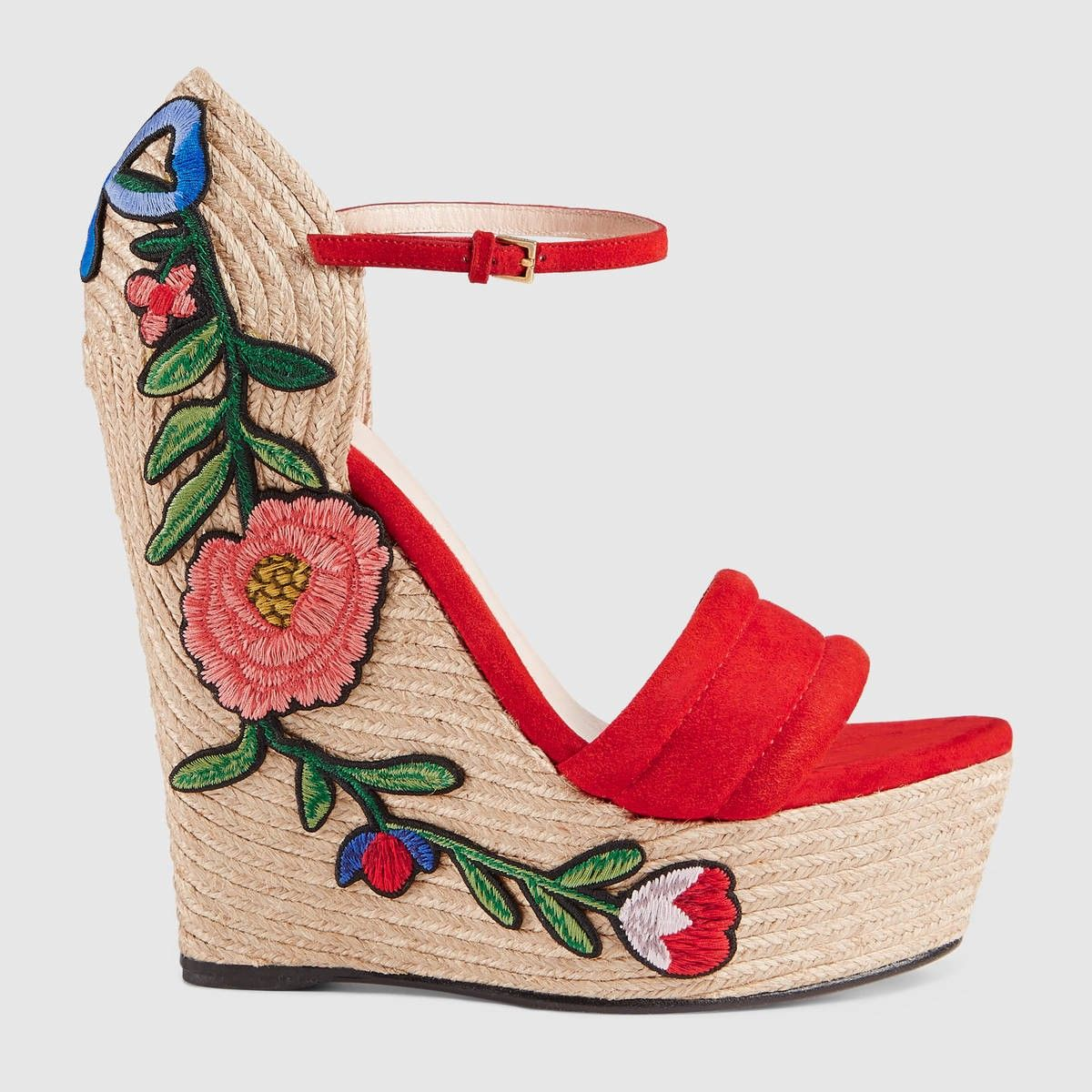 a0b2a135e5e GUCCI Embroidered Suede Platform Espadrille - Hibiscus Red Suede ...