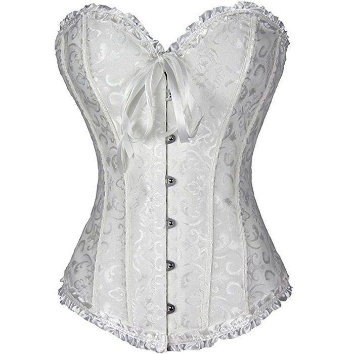 PhilaeEC Frauen Bridal Wäsche schnürt sich oben Satin ohne Knochen Korsett mit G-Schnur (Weiß, XL)