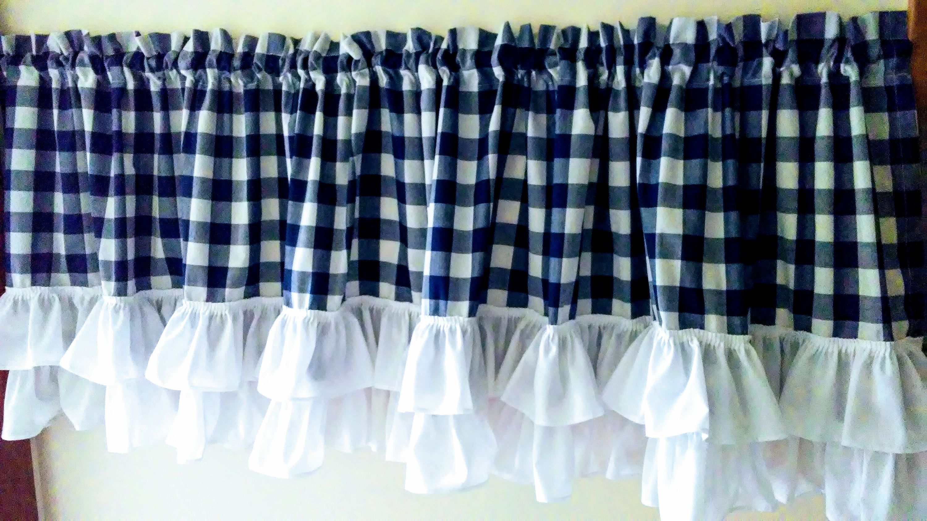 Gingham Ruffled Valance Etsy Valance Cafe Curtains Gingham