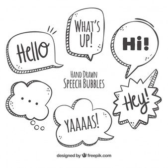 Download Various Hand Drawn Speech Bubbles for free in