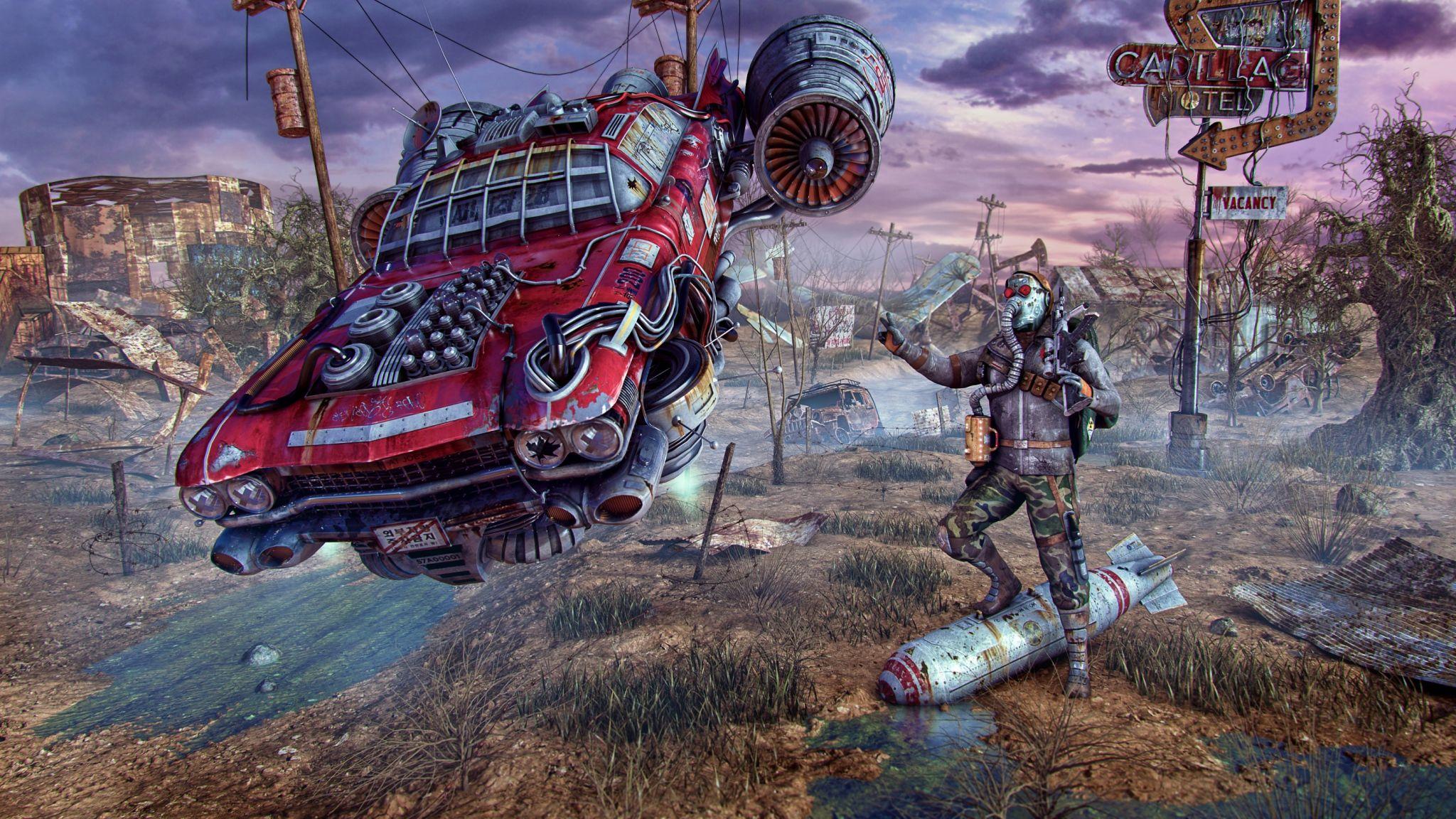 2048x1152 Wallpaper Fallout Wasteland Cars Flight Art Fantasy Cars Fallout Fan Art Fallout Wallpaper