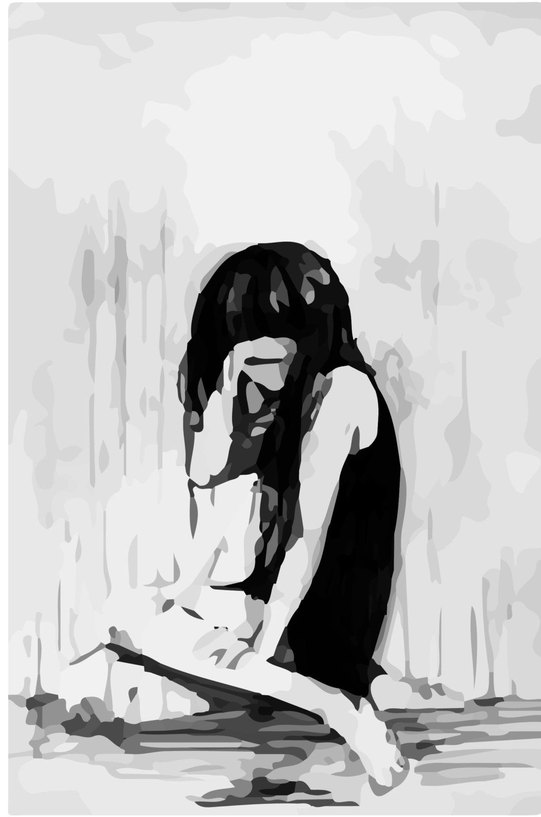 Crying Girl Drawing Black And White