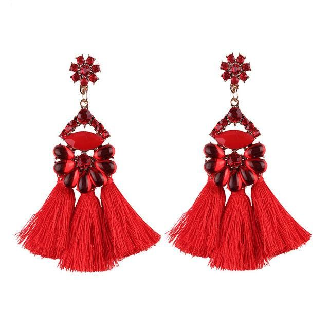 Boho Chic Geomeric Metal with Dangled Color Tassel Long Statement Earrings