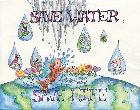 Poster: This poster tells us that by saving water it save lives ...