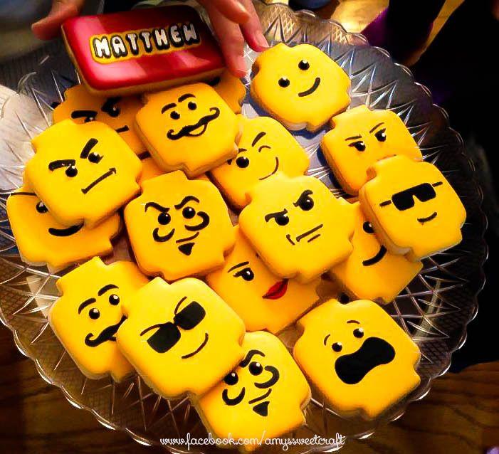 Lego head cookies