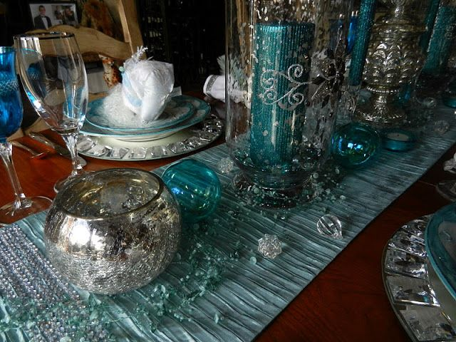 turquoise teal and silver christmas table centerpiece