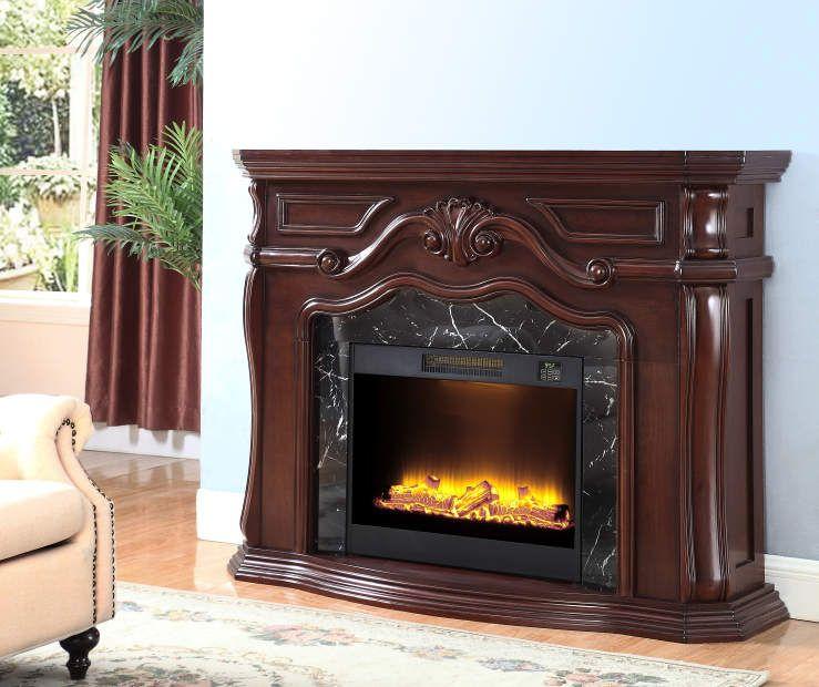 62 Fireplace Electric Big, Dark Cherry Wood Electric Fireplace