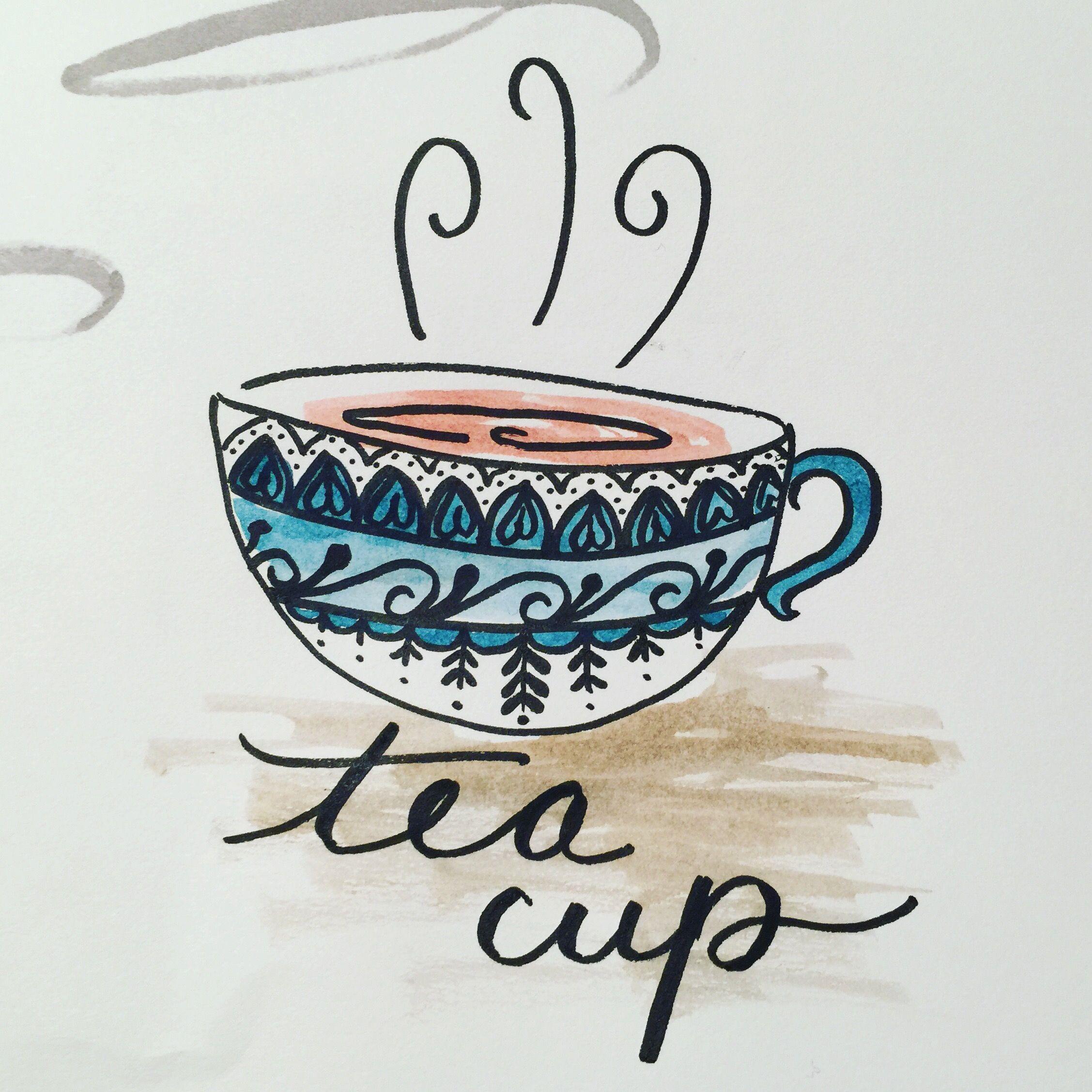 Simple teacup doodle zentanglehenna delft blue tea