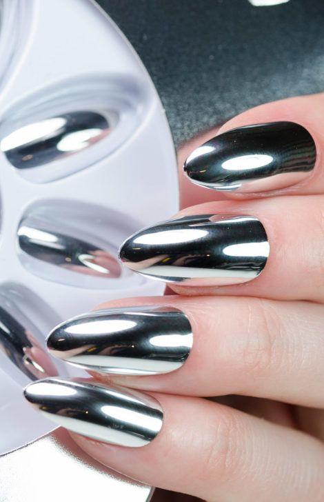 30+ Mirror and Chrome Nail Design Ideas #chromenails