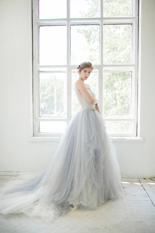 fdbb6e1489 Tulle wedding gown // Gardenia / icy gray wedding dress, silver grey ...