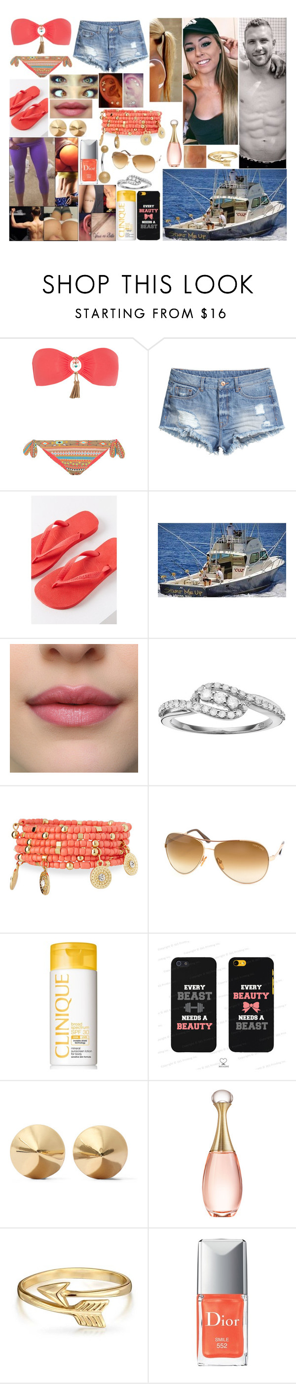 """""""Hawaii Day 6: Sport Fishing"""" by queennikkiufc ❤ liked on Polyvore featuring Emamò, H&M, Havaianas, Emily & Ashley, Tom Ford, Clinique, Samsung, Eddie Borgo, Christian Dior and Bling Jewelry"""