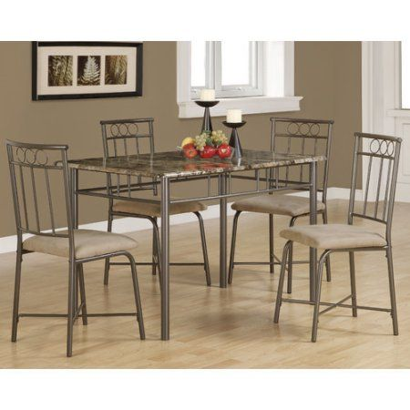 Monarch Dining Set 5Pcs Set / Cappuccino Marble / Bronze Metal, Brown