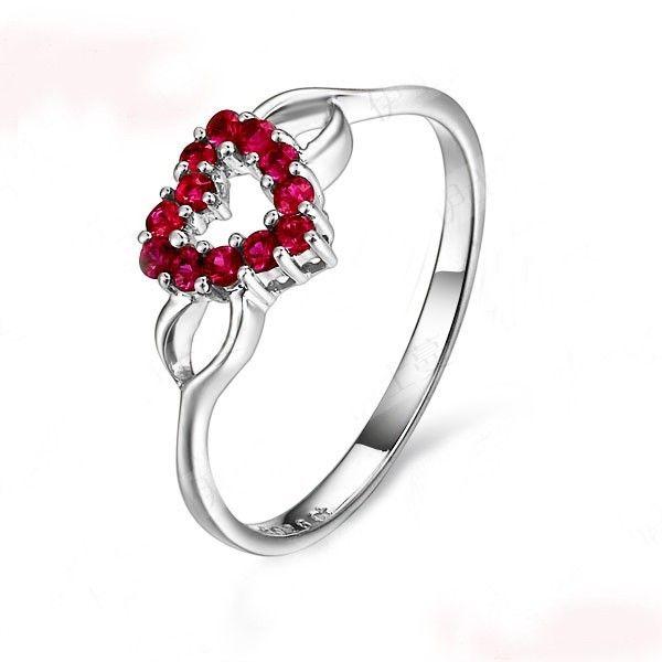 Heart Shape Ruby Engagement Ring On 10k White Gold Engagement