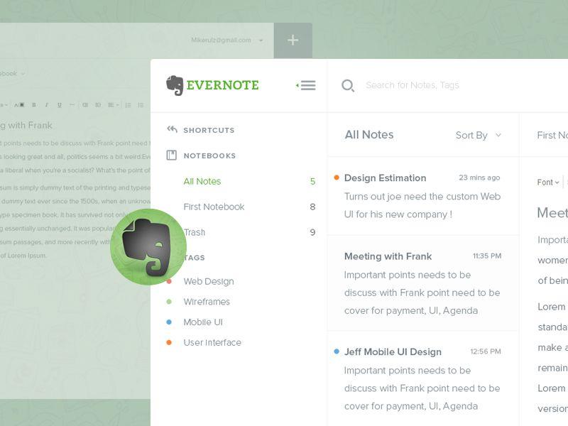 Evernote Dashboard Evernote Mobile Inspiration Web Design