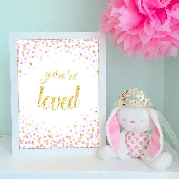 Pink and Gold Nursery Decor - wall print by VigiCreativeStudio
